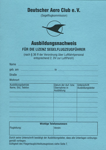Ausbildungsnachweis für Segelflug
