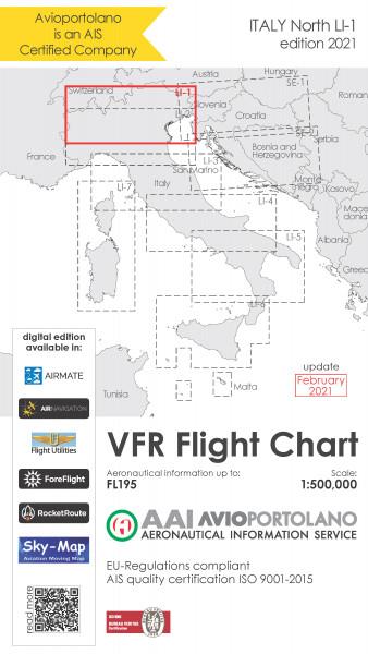 AVIOportolano VFR Flight Chart - Italy North (LI-1) (Ausgabe 2021) (Vorbestellung)